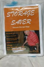 5 Pack Vacuum Storage Saver Bags that are clear with a Blue valve, cap, zipper