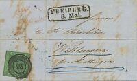 """BADEN 1858 3 Kr. Schwarz auf grün vollrandig mit Fünfringstempel """"43"""" (FREIBURG)"""