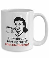 Funny Cursing Coffee Mug,  Novelty 15oz White Ceramic Swearing Tea Cup For Men