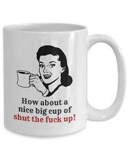 Funny Cursing Coffee Mug,  Novelty 15oz White Ceramic Swearing Tea Cup For Men