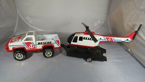 Tonka Rescue Helicopter with trailer and truck