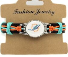 Miami Dolphins NFL Team Genuine Leather Men's Women's Bracelet - free shipping