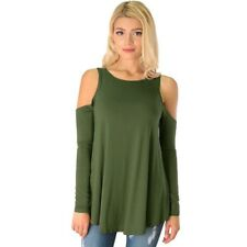 Plus size Women Cold Shoulder Long Sleeve T-shirt Loose Blouse Casual Tops US