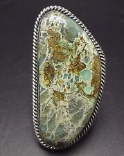 Huge Heavy 33g Signed NAVAJO TUFA Cast Sterling Silver TURQUOISE RING, size 12.5