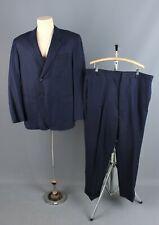 Vtg Men's 1970 Navy Blue Pinstripe Hong Kong Suit Jacket L Pants 39x28 60s 70s