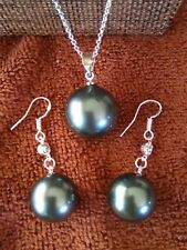 925 silver Black south sea shell pearl Round Beads Pendant necklace & earrings