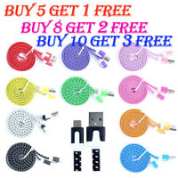 Flat Braided USB Charger Lightning Cable Data Cord For i Phone 6 6s 7 8 Plus X