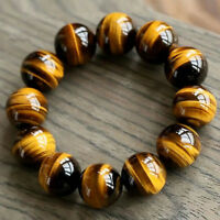 Unisex Natural Tiger Eye Stone Round Beads Bracelet Bangle Charm Jewelry 8-20MM