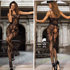Sexy see through fishnet lingerie bodystocking crotchless bodysuit nightwear