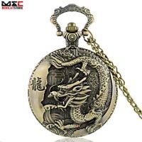 Antique Bronze Chinese Dragon Pocket Watch Quartz Chain Pendant Necklace Vintage