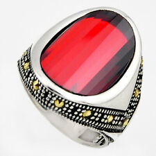 12.58cts RED GARNET QUARTZ MARCASITE 925 STERLING SILVER MENS RING SIZE 9 C6041