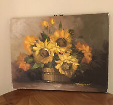 "Robert Cox Oil Painting on canvas, sunflowers 16"" X 12"" Signed Original"