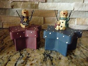 Snowman Trinket box Resin Farmhouse Fall Primitive Country Christmas Signed
