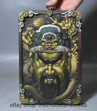"9.2"" Old China Wood Painting Feng Shui Guan Gong Yu General Dragon Thangka Hang"