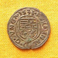 Medieval Hungarian Coin - Habsburg Ferdinand Bronze Denar. Madonna, 1533.