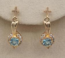 18K Gold Filled -  Cross Spoon Swirl Sapphire Topaz Hollow Prom Stud Earrings