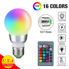16 Color Changing Light E27 Rgb Led Lamp Bulb with Wireless Remote Control Usa