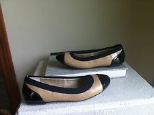 MEE TOO SADDLE BROWN AND BLACK CAP TOE BALLET FLATS SLIP ONS 7 M