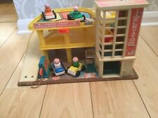 Vintage Fisher Price Parking Garage complete with ramp 4 Cars & People 1970s
