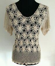 Vintage Bohemian Handmade Crochet Flutter Sleeve Blouse