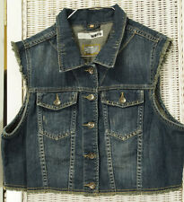 "MOTO Distressed Denim Waistcoat 40"" Bust Women's Cropped Frayed Jeans Biker Vest"