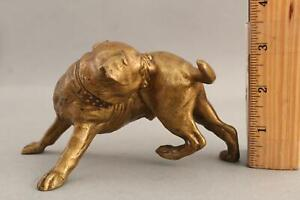 Small Antique Signed 1908 Miniature Bronze BULLDOG or PITBULL Dog Sculpture, NR