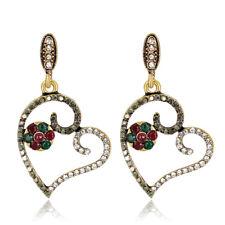 Vintage Style Bronze Grey Red Green Shiny Hearts Flower Drop Earrings E1431