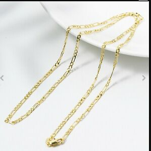 """New  Yellow Gold 14k 2mm  Figaro Chain Link Pendant Necklace  24"""""""