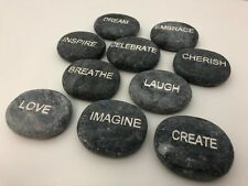 Set of 10 Engraved Stones with Inspirational Daily Reminders