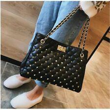 Women Rivet Large Chain Shoulder Bag Quilt Stitch Handbag Classic Luxury Casual