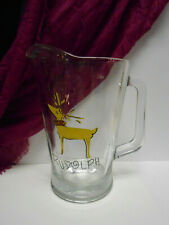 pottery barn reindeer Rudolph glass pitcher water beverage christmas