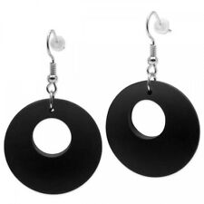 1 Pair Wood Earring Ear Jewelry Ethno Natural Ebony Ring-Shaped Slightly Round
