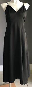 Designer PINK STITCH 'Saxony' Black Slit Front Midi Dress Size 8