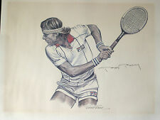 vtg 1982 Lithograph watercolor Tennis drawing for FILA Signed by BJORN BORG