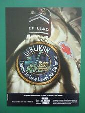 3/1985 PUB OERLIKON CF-LLAD LOW LEVEL AIR DEFENSE CANADIAN FORCES FRENCH AD