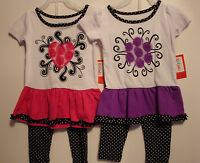 INFANT/TODDLER GIRLS 2PC PURPLE FLOWER OR PINK HEART TOP & LEGGINGS SET  NWT
