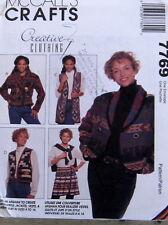 Womens pattern M7769 afghan wrap skirt jacket sz 8-16 vest bolero
