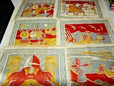 "MCM Vintage Mid-Century Modern linen VIKING theme placemats signed ""LH"" x 6 diff"