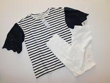 NWT GAP Girls 2 Pc Set Eyelet Sleeve T-Shirt Navy/White/Crop Leggings Large