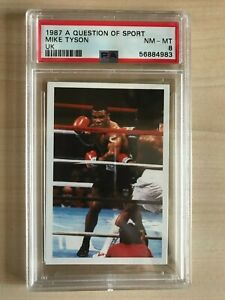#3 PSA 8 Trading Card Mike Tyson 1987 A Question Of Sport Rookie NM -MT