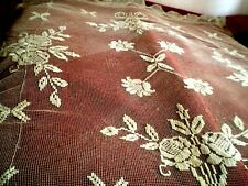Beautiful Stunning handmade lace tablecloth from  fillet, blooming roses
