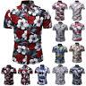 Men Hawaiian Summer Floral Beach Short Sleeve Camp Shirt Tops Leisure Blouse US