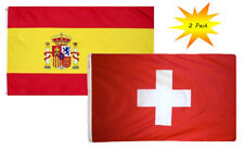 3x5 3'x5' Wholesale Set (2 Pack) Spain & Switzerland Country Flag Banner