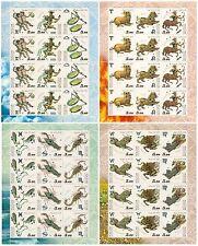 RUSSIA 2004 Sc# 6829-32 Full Sheets, Zodiac Signs, MNH