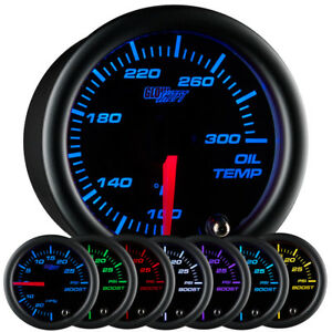 52mm GlowShift Black 7 Electronic Engine Oil Temp Temperature °F Gauge
