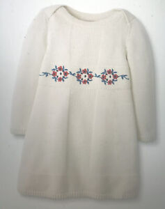 Hanna Andersson Girls Size 80 Cm Us 18–24 Months Embroidered Sweater Dress New