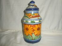 """Talavera Unsigned Mexico Sunflower Jar 9 1/2"""" Tall Hand Made & Painted w1s6"""