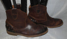 NEXT WOMENS BROWN PULL ON LEATHER COWBOY ANKLE BOOTS SIZE:3/36(WB1548)