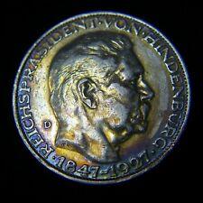 GERMANY 1927 D 5 SILVER MARKS GOETZ MEDAL Hindenburg COIN VF Toned