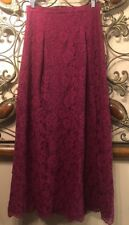 New Nicole Miller Womens Size 8 Lace Overlay Cranberry Long A-Line Skirt